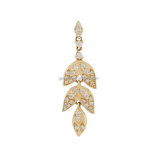 Single floral leaf drop diamond one gram gold earrings designs jewelry