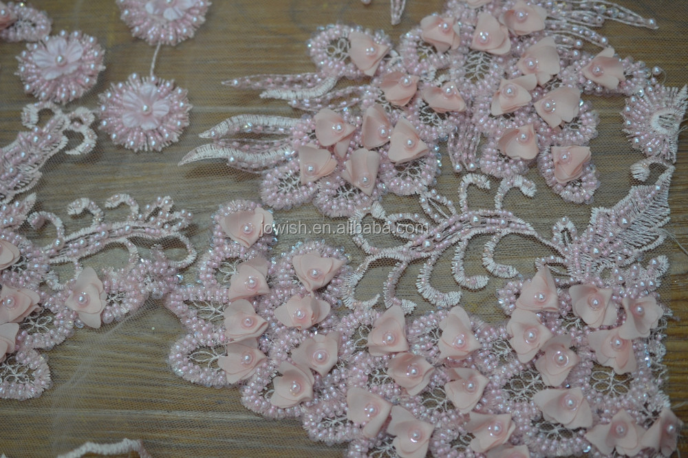 Luxurious Pearl Beaded Lace Fabric, Wholesale French 3d Guipure Sequined Lace Dress Fabric