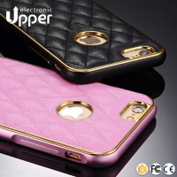 Wholesale cheap price luxury sheepskin mobile phone back leather cover with aluminum metal frame bumper case for iphone5