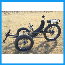 Sports Mountain 3 Three Wheel Fat Tire Electric Recumbent Trike With 2 Wheels in Front