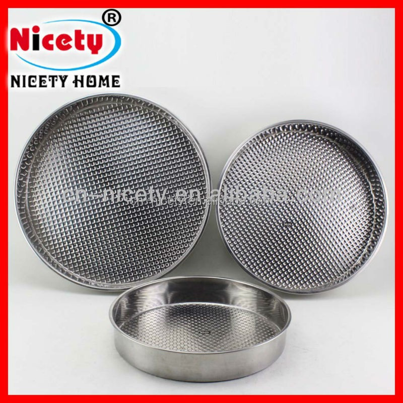 metal material round stainless steel Pizza tray plate