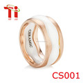 18k rose gold and ceramic stacking ring, Custom made white ceramic stainless steel gold plating ring