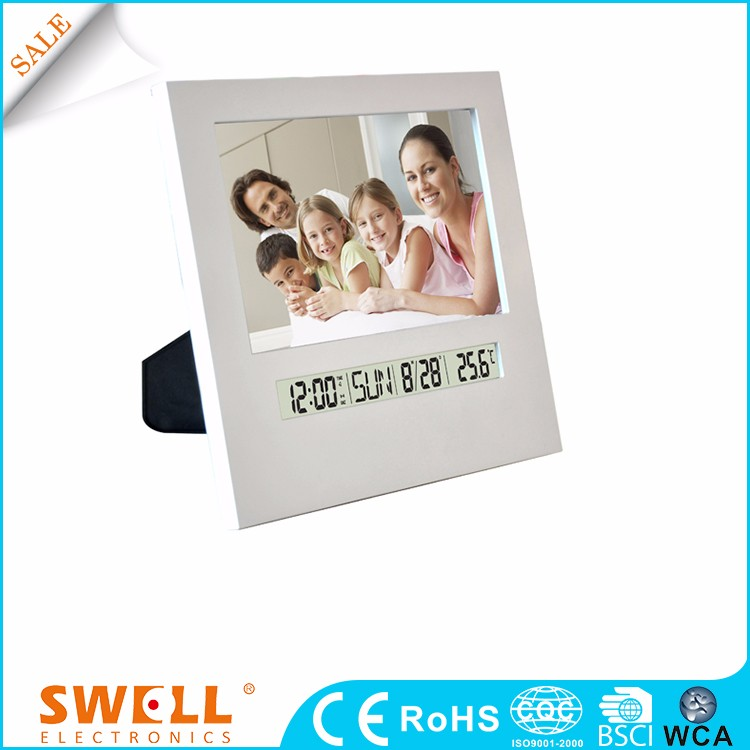 table clock with photo frame , table calendar clock and frame