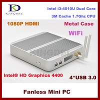 Latest Cheap Fanless x86 Mini Itx Desktop PC 12V with 4GB RAM 64GB SSD Core i3 4010U HTPC Wifi Metal Case VGA 4*USB3.0 3D Gaming