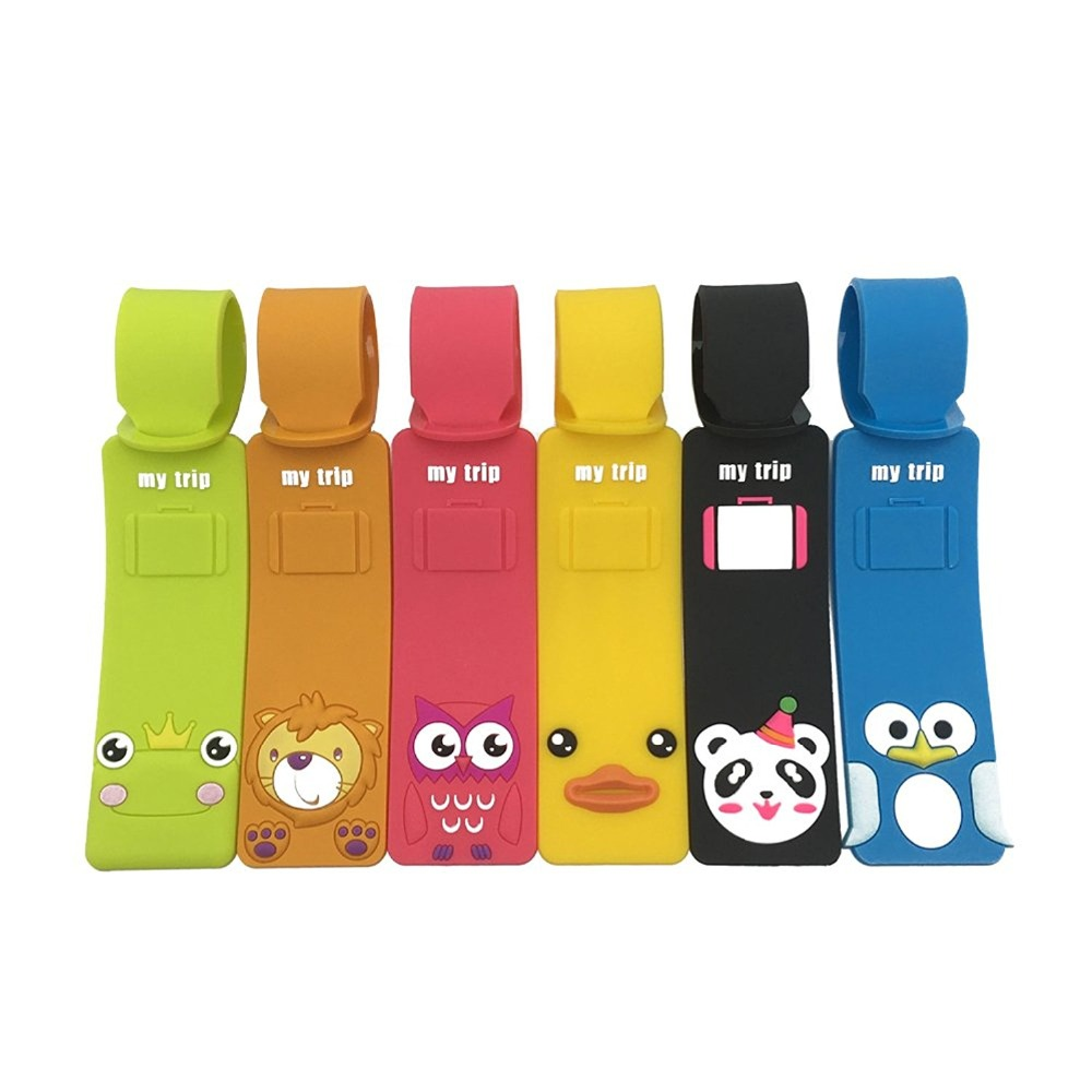 Wholesale Cute Animals Luggage Tags,Set of 6 Colorful Silicone Travel Suitcase Bag Label