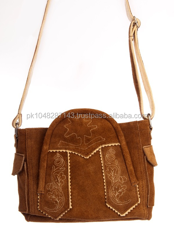 Traditional Dirndl bags/cowhide suede leather dirndl bag/trachten bag
