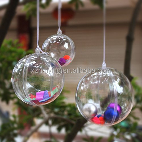 Christmas Plastic Balls That Open/Clear Hollow Plastic Balls 30mm-150mm