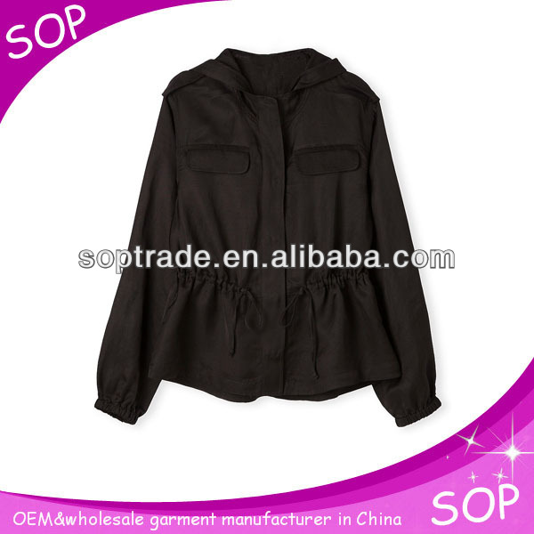 wholesale korean fashion black coats for young women 2015