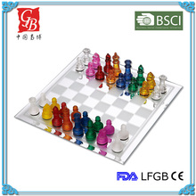 14'' Glass chess game glass chess set chess & checkers colorful pieces