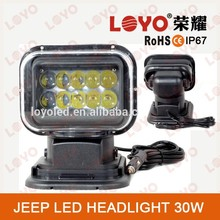"Big promotion!!!Black &white 50w super bright led search light 7"" remote car lights searchlight"