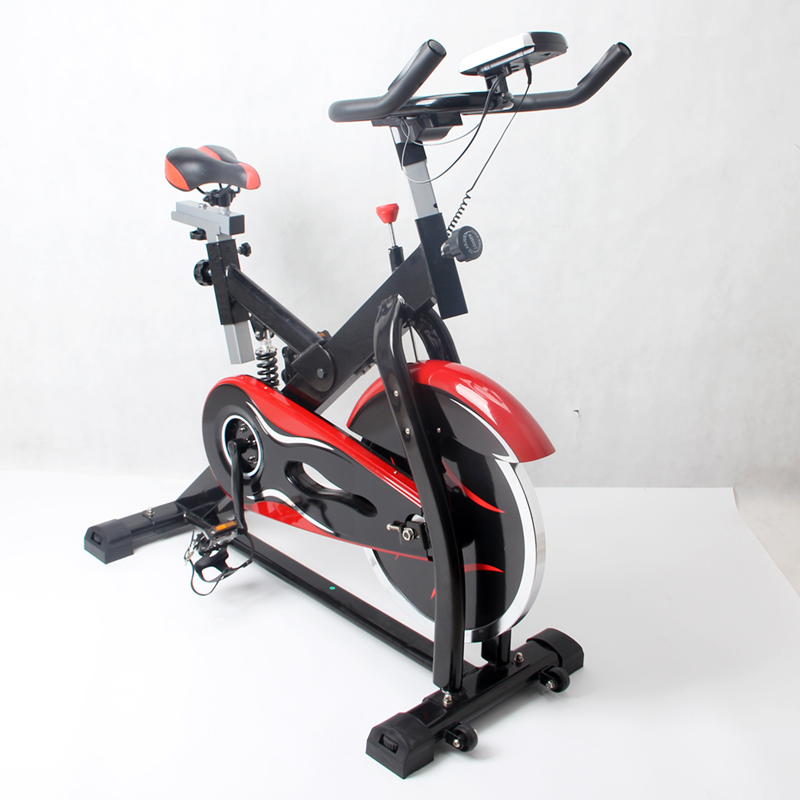 2017 Deluxe Cycling Upright Indoor Exercise Bike Stationary Cycling Cardio Workout LCD Monitor Spin Bike