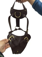 Interesting Leather head dog harness soft