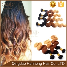 Unprocessed High Quality 100 Brazilian Human Hair Extension Sew In Weave 1b/4/27 3Tone Hair Weft
