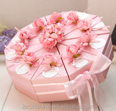 Pink triangle cake sweet boxes Creative wedding gift wholesale personality finished making cardboard boxes