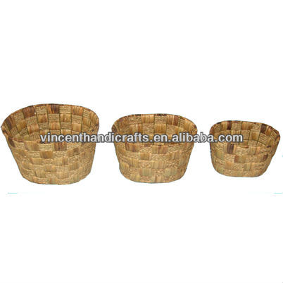 Christmas decoration gift basket S/3 primitive oval water hyacinth flower planter