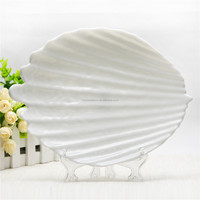 Art design collectible shell shaped plate opal glass decoratisve shell dish plate elegant plate