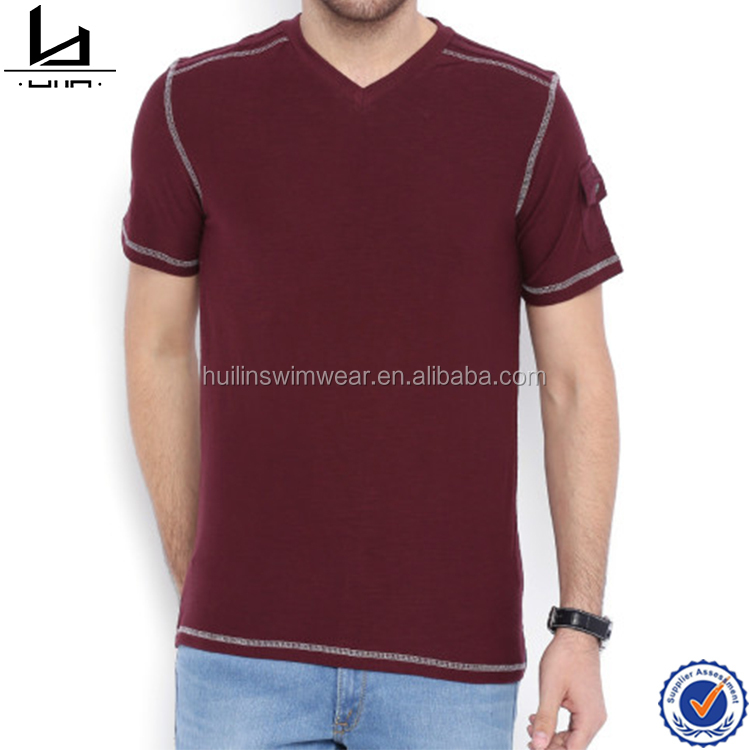 Online shop China maroon mens wear t shirt cotton king shirts wholesale blank t shirts with flap pocket on one side