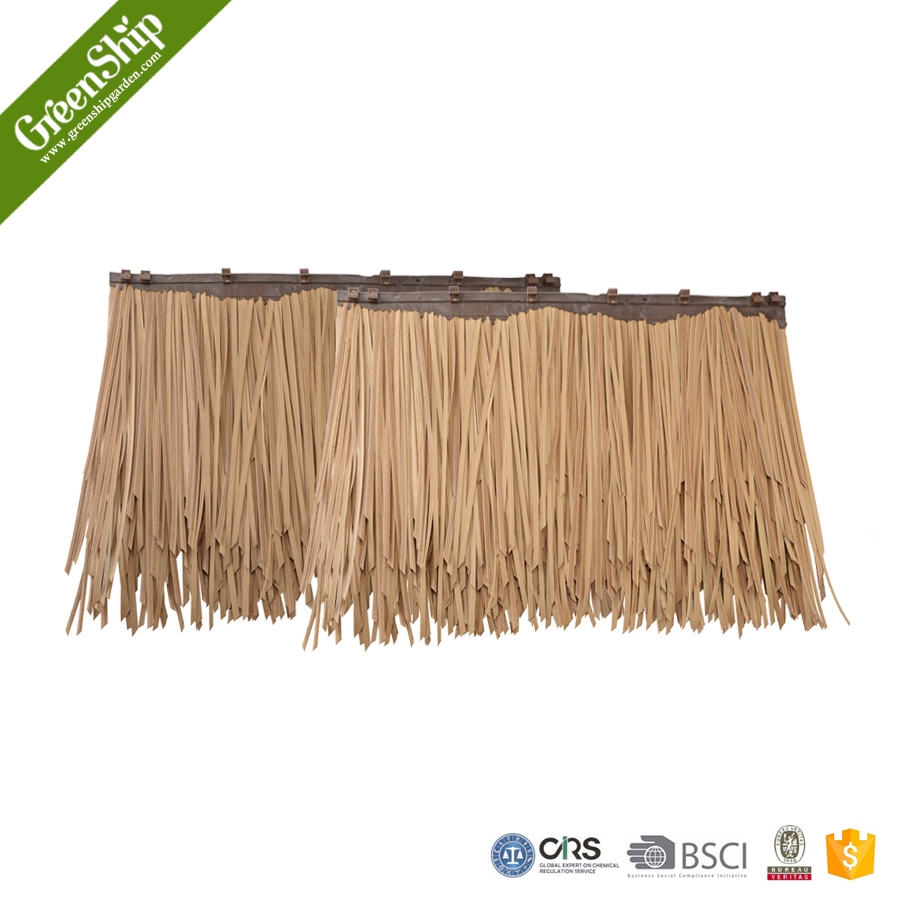 Gazebo roof material types synthetic palm leaves of roof tiles