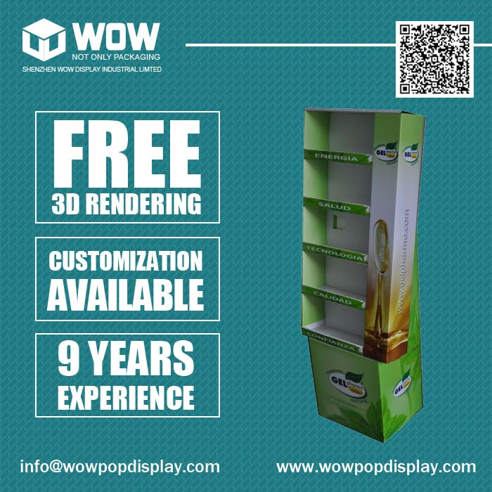 Free Stand Flooring Display Rack for Perfume, POP Up Cardboard Display Stand