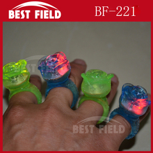 flashing party led rose jelly ring