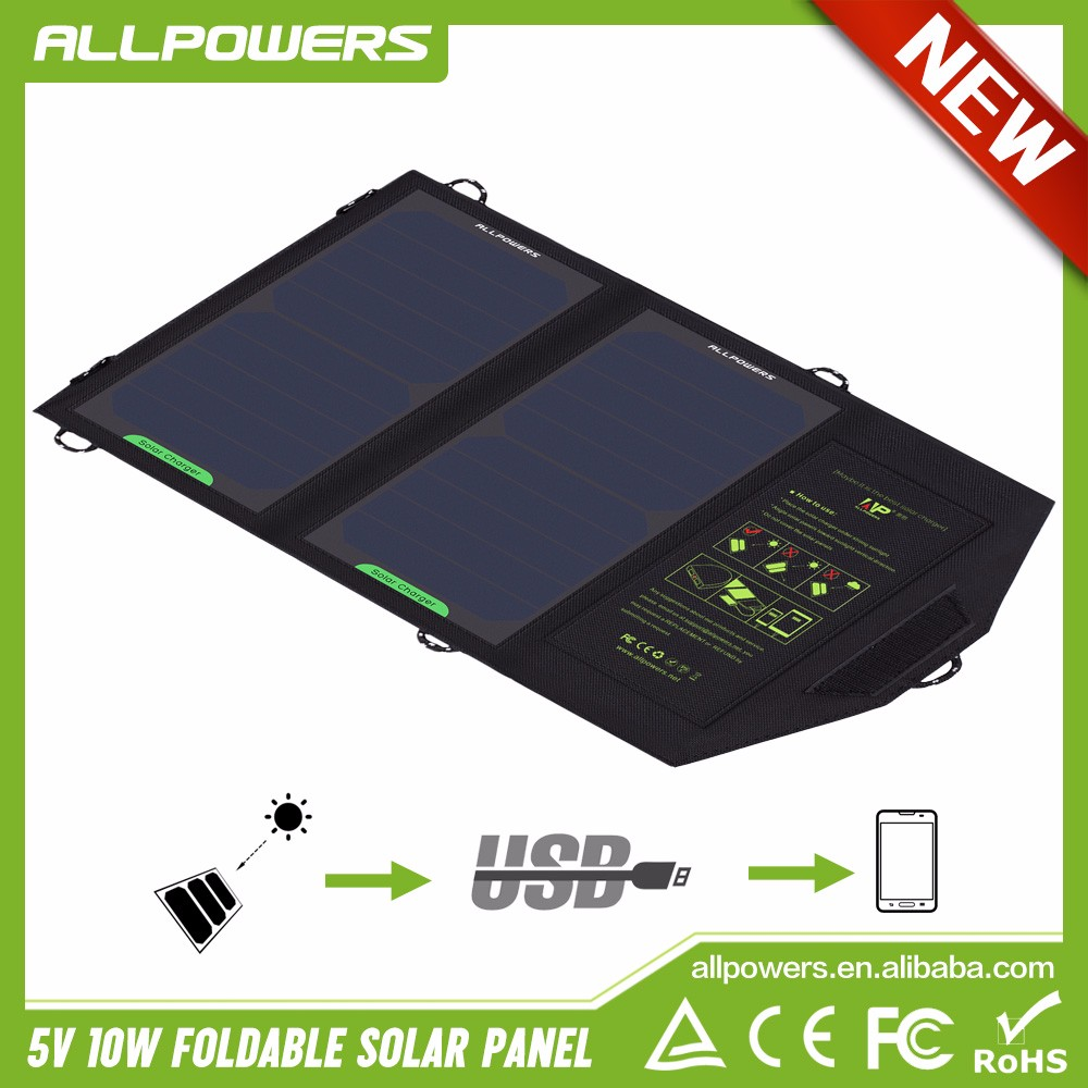 Allpowers 10w Foldable Solar Panel Charges Mobile Phone Solar Battery Charger USB output Charger for Smartphone Tablets PC.