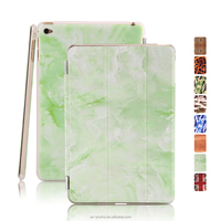 New Arrival Smart Magnetic Leopard Wood Marble PU Leather Case Flip Cover for iPad mini4