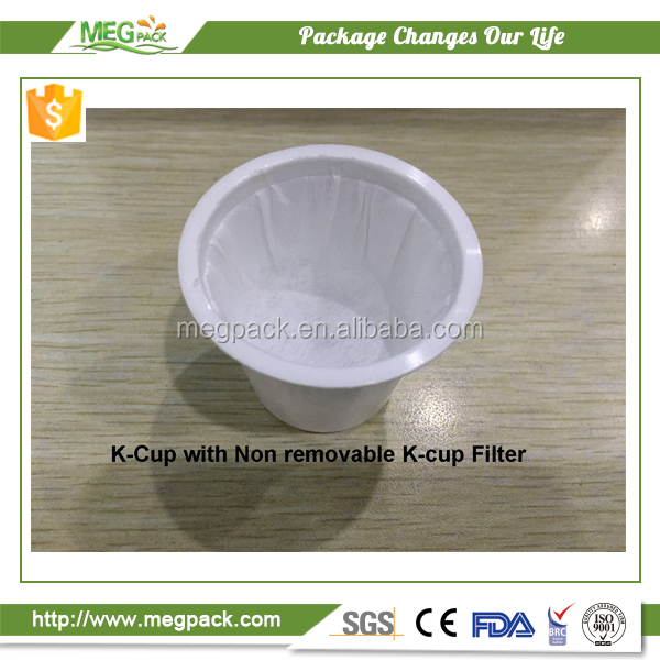 Manufacturers empty Keurig disposable k-cup with build in filter