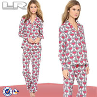 2014 New Arrival Heart Rabbit Animal Printed Lapel Long Sleeve Ladies Silk Pajama Set for sexy women