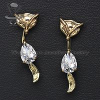 Fancy jewelry 18k gold plated high-end fox shaped cute animal stud earrings