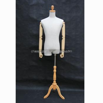 Gentil Male Dress Form Wooden Tripod Base Clothing Display Adjustable Dress Form  AFBM31