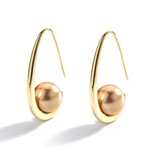 European and American Style Large Pearl Modern Geometric Gold Earrings Classic Simple Fashion Charm Jewelry For Women