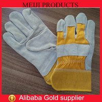 Yellow leather working gloves cow split leather leather welding gloves