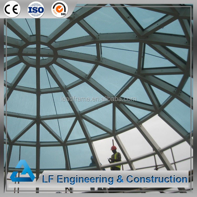 Cheap prefab steel structure house tempered glass dome