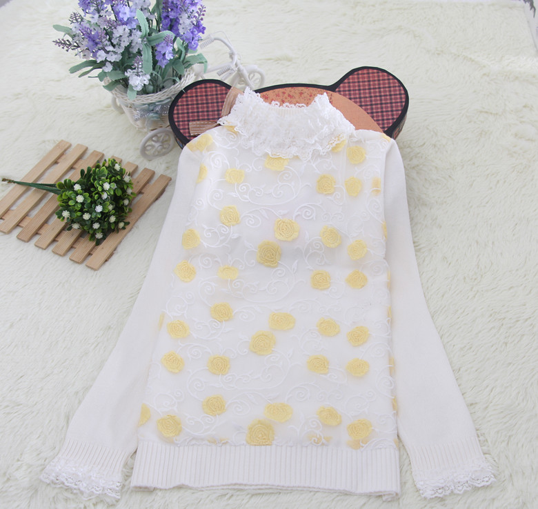 european style warm flowers cotton sweater designs for kids hand made