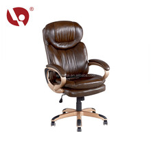 Retro Style Adjustable Leather Executive Office Chair With Five Wheel