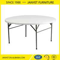 Wholesale cheap out door event dining white round plastic folding table