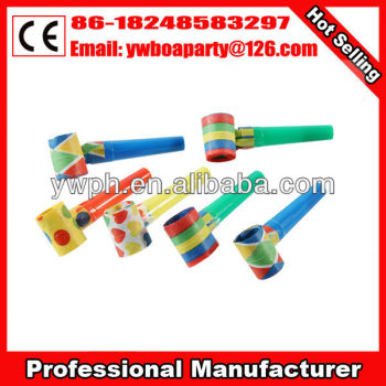 cheap party blowouts paper blow horn plastic blow horns paper whistle