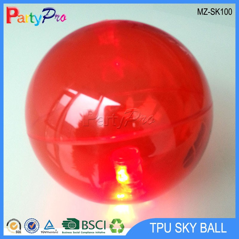 2015 New High quality TPU 55mm 65mm 75mm 85mm 100mm 110mm 150mm led bouncing ball Comet Ball plastic hollow ball