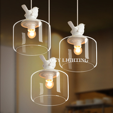 American Minimalist Pendant lamps Unique Resin Bird Decorative Droplight Glass Shade Restaurant Chandelier lights