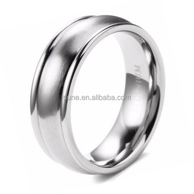 Classic Men Rings 7mm Titanium Ring With Stain Finishing Center Wedding Band High Polish Wedding Band