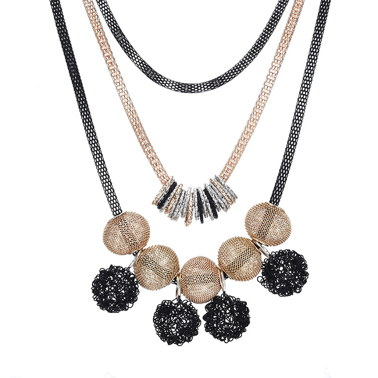 Metal frosted Colored ball necklace fashion <strong>jewelry</strong> 2018