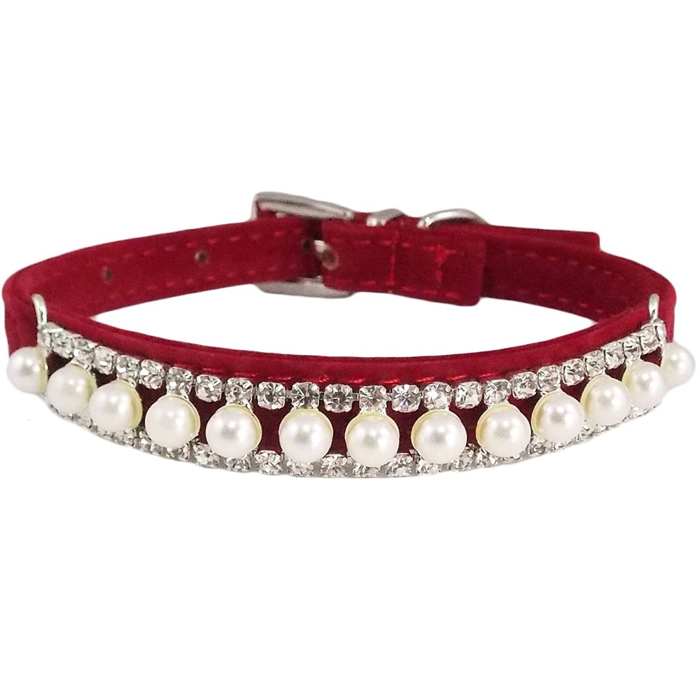 Adjustable Velvet PU Suede Leather Bling Diamonds and Pearls Fashion Collar for Dogs Puppies Cats