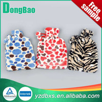 polka dot tiger stripes and blue and red and black plush cover with 2000ml hot water bags
