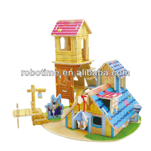 Educational 3D wooden puzzle model toy