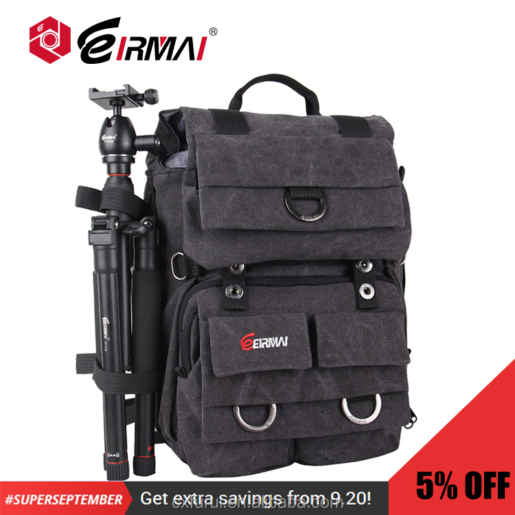 EIRMAI DSLR Camera Backpack Vintage Style Canvas Camera Backpack Holding Tripod