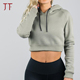 Ladies Crop Tops Plain Activewear Fashion Cheap Sexy Girl Long sleeve Sweatshirt Hoodies