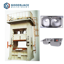 H frame sliding double action deep drawing hydraulic press for kitchen stainless steel corner sink