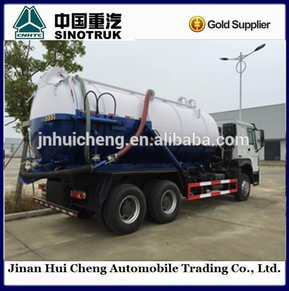 Sinotruck HOWO 290hp 6*4 15cbm Vacuum Sewage Suction Truck low price for Sale