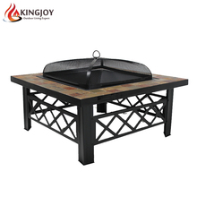 33 Inch Natural Slate Top Outdoor Fire Pit table with Spark Screen