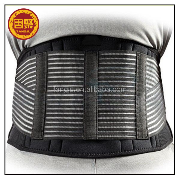 Hot selling Double Pull Neoprene Adjustable Lumbar Back Brace Support with steel
